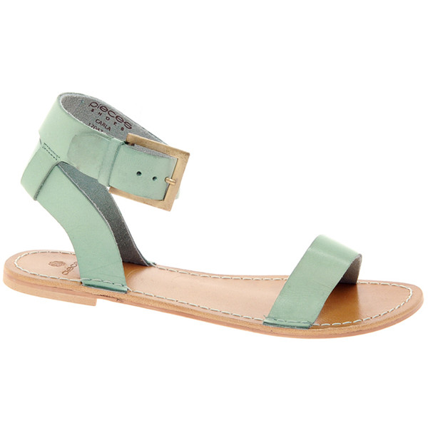 Pieces carla mint leather flat sandals