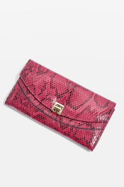 Topshop snake snake skin purse print pink bag