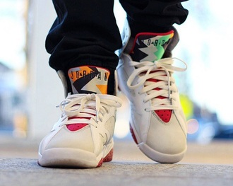 shoes air jordan jordan jordans retro retro 7 hare nike nike air swag men's white grey red sneakers kicks 23 retro 7 hares jumpman fashion style bugs mens shoes mens high top sneakers