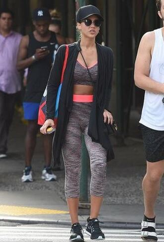 leggings sportswear sports bra sports shoes jessica alba top