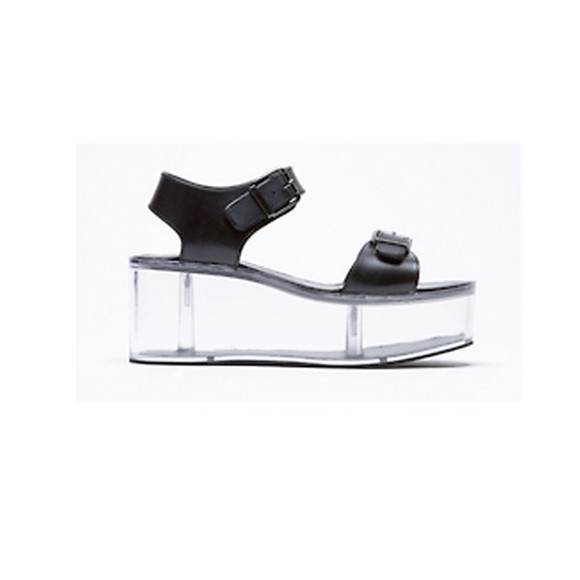 shoes vapor clear black platform sandal leather tumblr