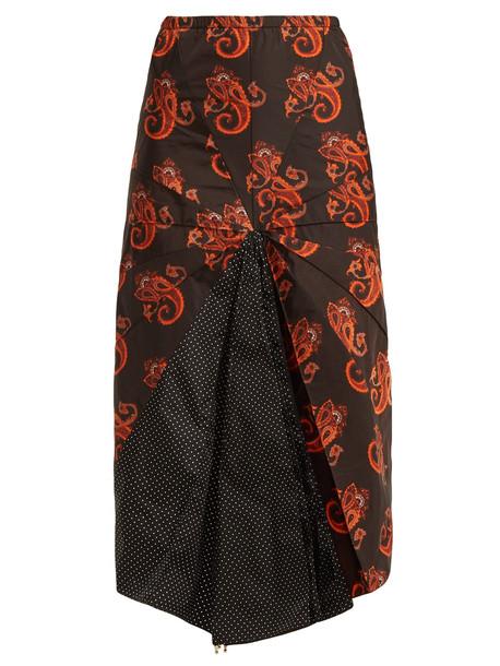 VETEMENTS Paisley and polka dot-print umbrella skirt in black / multi