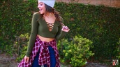 top,niki demartio,green,crop tops,cut-out,long sleeves,niki and gabi,hat,grey,benies,jacket,plaid,red,black,white,niki demartino,fashion,stylish,fall outfits