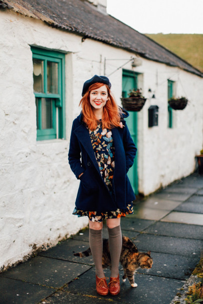 the clothes blogger dress butterfly beret blue coat knee high socks