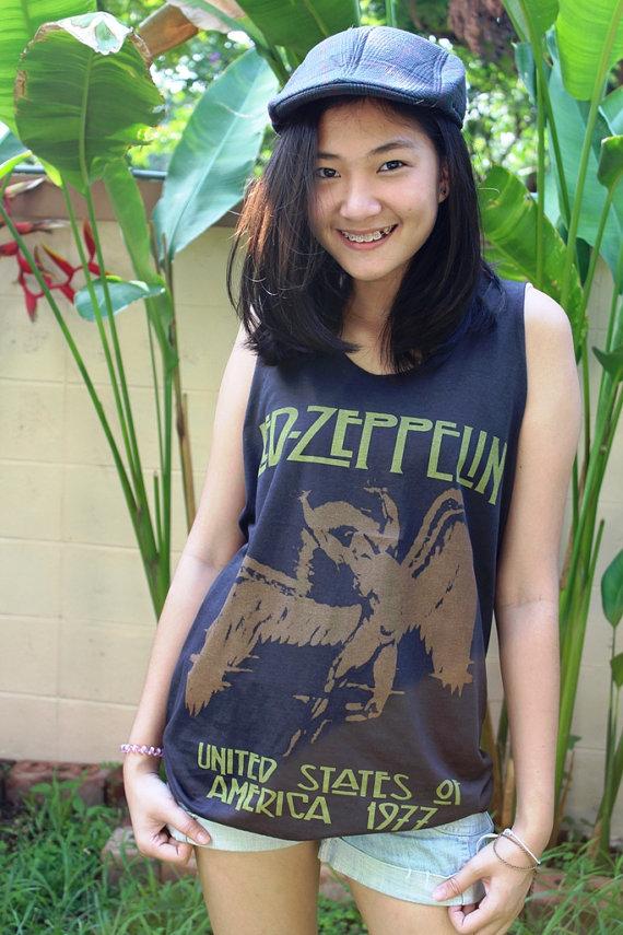 Led zeppelin hard rock heavy metal shirt black tank top shirt singlet t