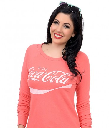 Coral Pink & White Crew Neck Coca Cola Long Sleeve Sweater