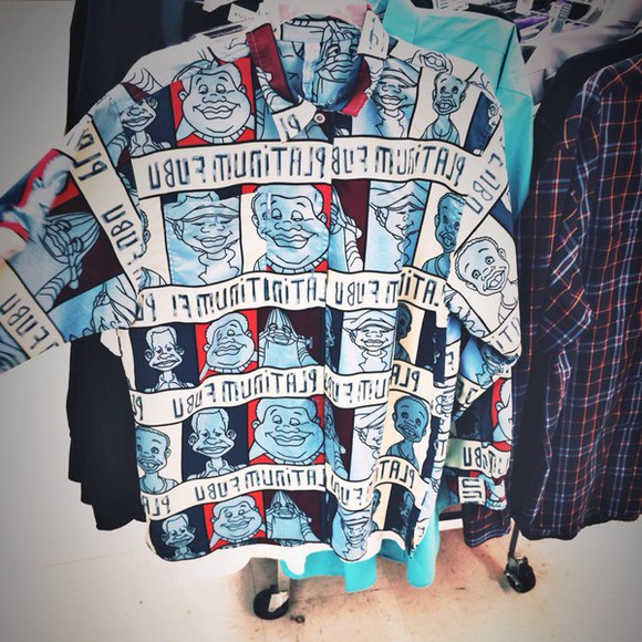 long sleeves blouse button up fat albert graphic