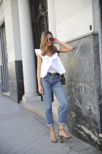 lady addict blogger blouse shirt jeans gucci belt pumps high heel pumps white blouse summer outfits top tumblr white top ruffle denim blue jeans sandals sandal heels high heel sandals