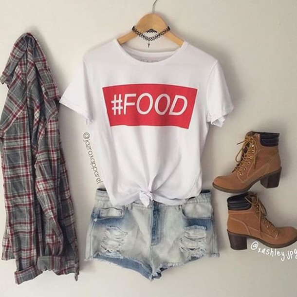 T-shirt jazrox food food shirt hipster style girly quote on it neon cute indie tumblr ...