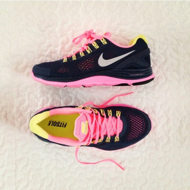 shoes nike freerun trainers sneakers black pink yellow sportswear running  nike running shoes fashion nike free