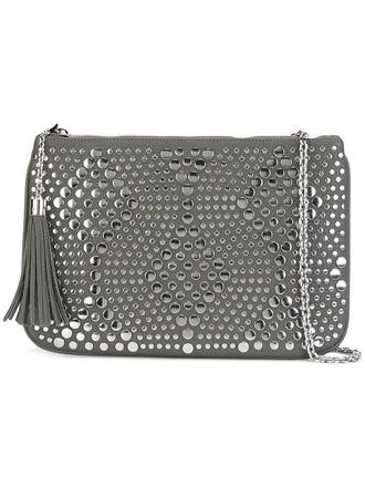 studded women clutch grey bag