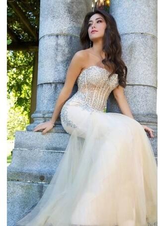 dress sequins 2014 prom dresses beaded champagne mermaid prom dress sexy dress