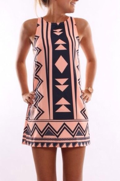 dress short dress print aztec print