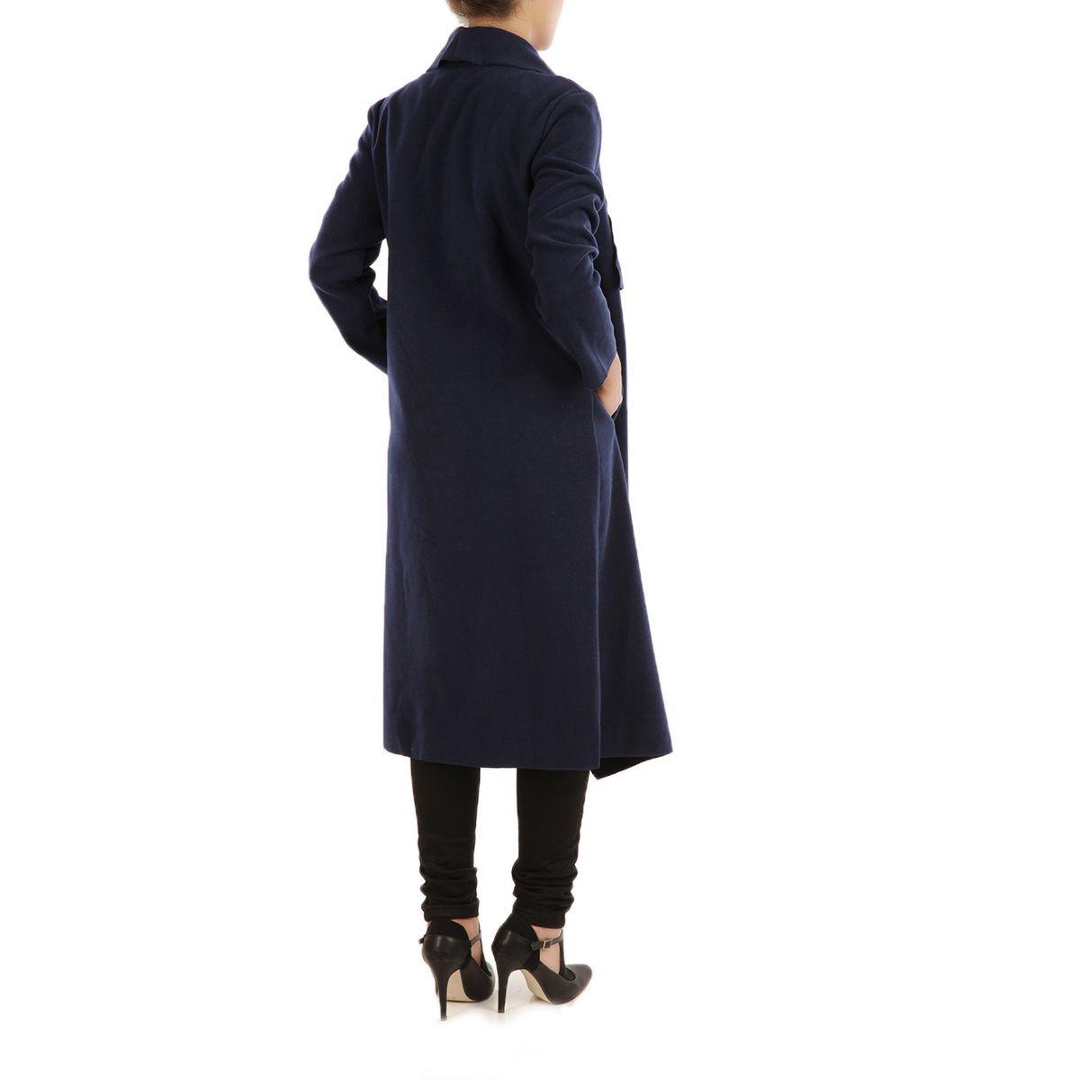 manteau femme coupe longue aspect velours avec poches bleu. Black Bedroom Furniture Sets. Home Design Ideas