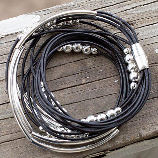 jewels silver bracelet pink leather black bracelets jewelry wrap bracelet