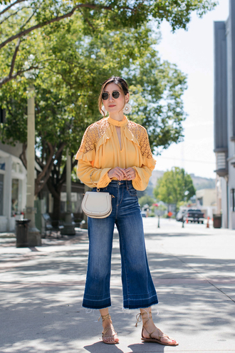 shirt tumblr lace top yellow yellow top denim blue jeans sandals flat sandals bag white bag sunglasses shoes jeans
