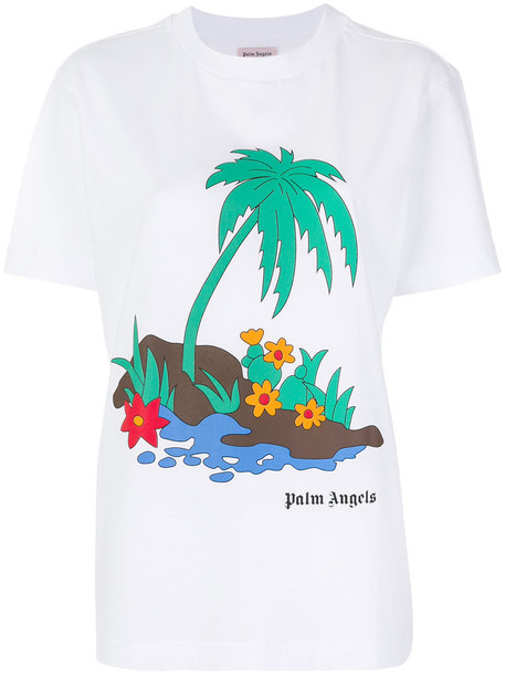 t-shirt shirt t-shirt women tree palm tree white cotton top