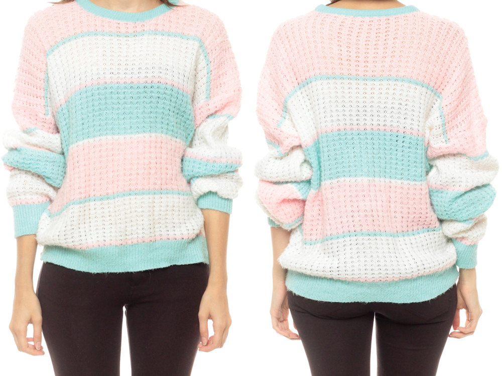 Pastel Sweater 80s Striped Sweater SHEER Baby Pink Turquoise Open Weave Pointelle Knit Slouchy Pullover 1980s Vintage White Small Medium