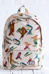 bag,bird print,backpack,herschel supply co.