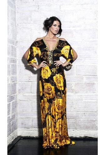 dress baccio black print resort wear pants silk dress yellow
