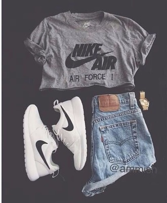 shirt nike air force 1 t-shirt grey t-shirt oversized t-shirt shoes shorts