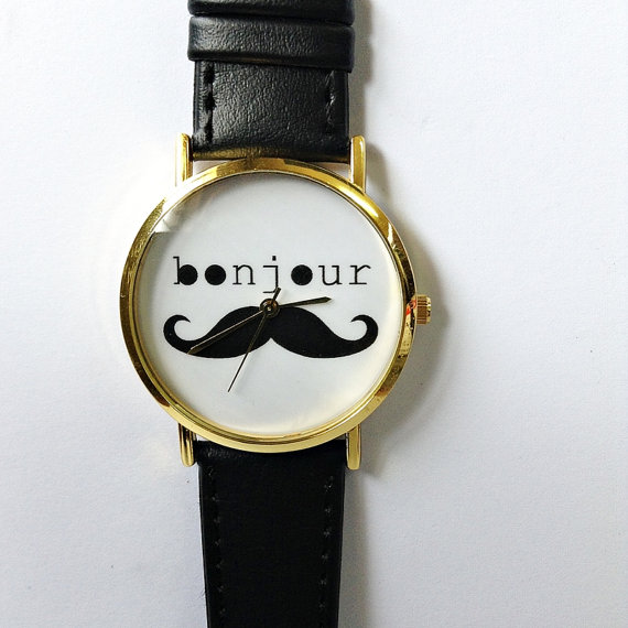 Bonjour Moustache Watch Vintage Style Leather Watch by FreeForme