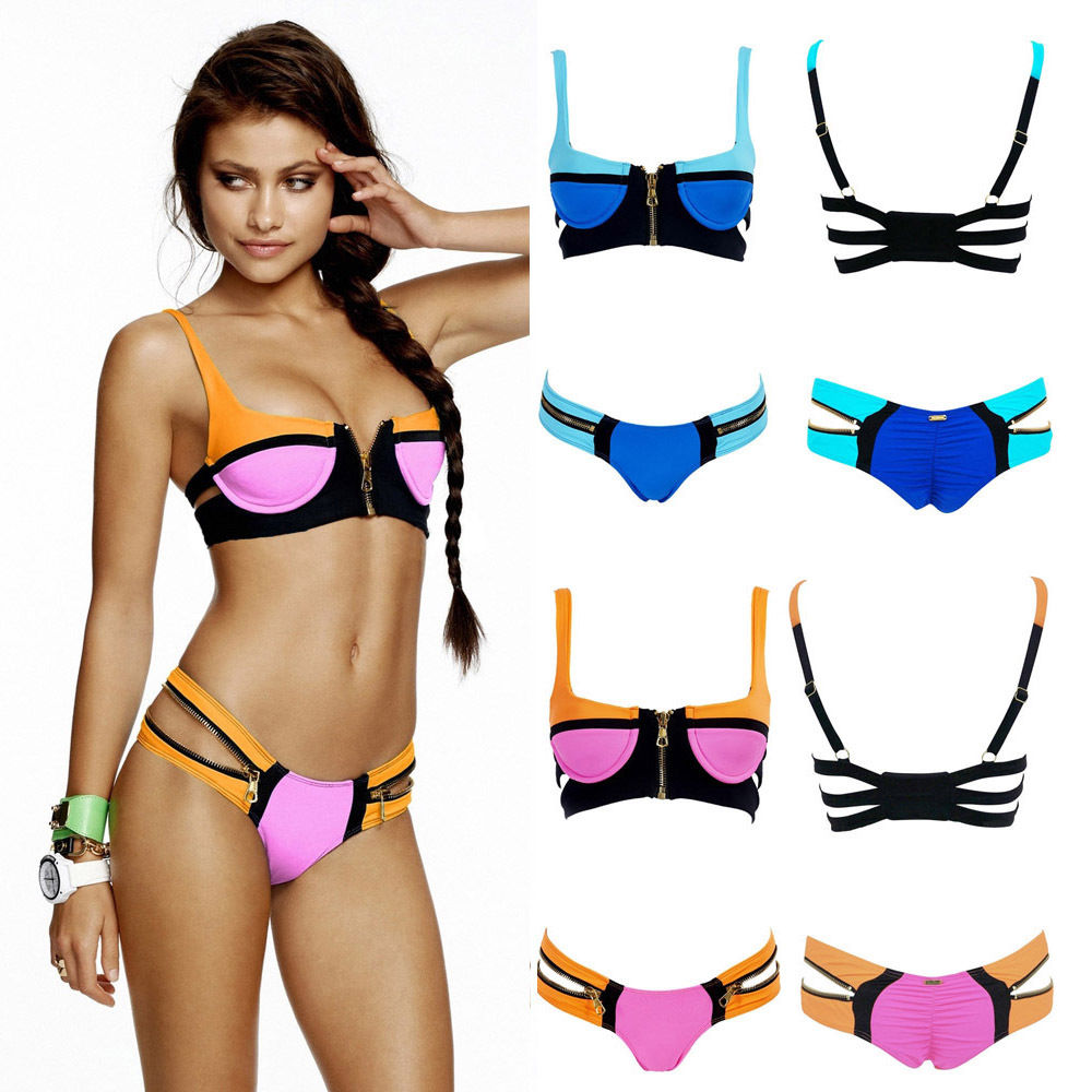 Bikini Bandage SwimwearEbay Arrival Beachwear Top Dress Up Striped Push Set Swimsuit FJlK1cT3