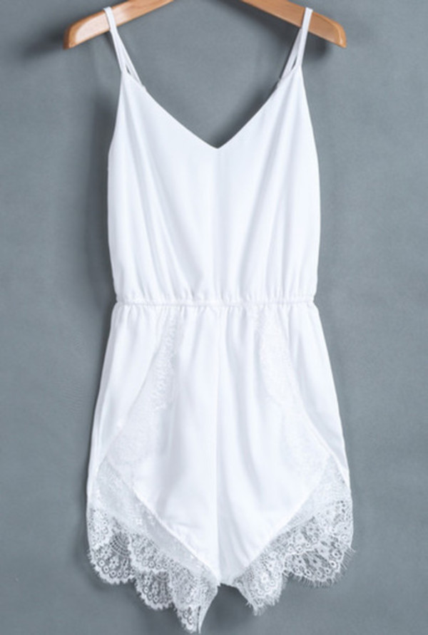 romper romper white lace fashion style girly summer
