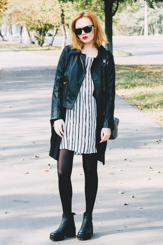 kristina magdalina blogger leather jacket striped dress fall outfits striped top black leather jacket