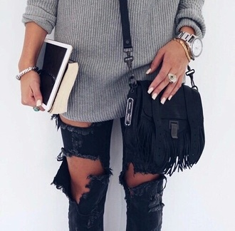 jeans black ripped jeans ripped grunge cool vintage fall colors grey denim