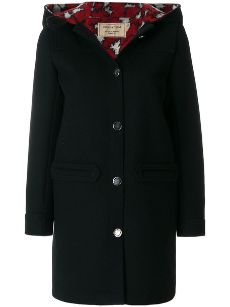 maison kitsune coat women black wool