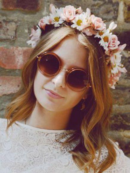 round sunglasses hair accessories peach flower crown vintage sunglasses