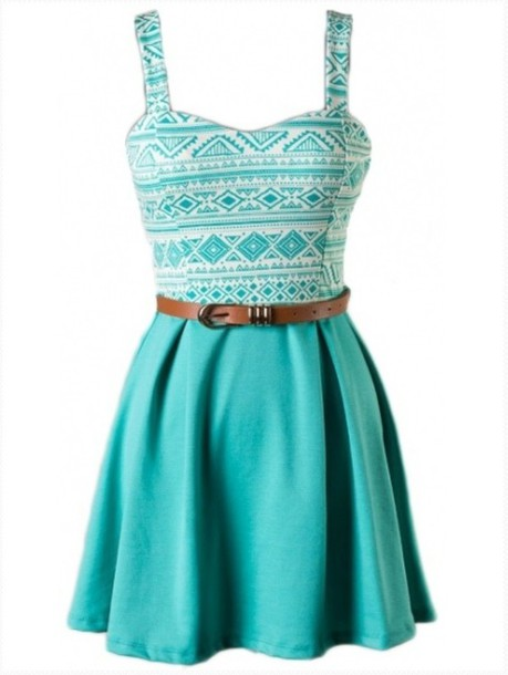 dress turquoise turquoise dress aztek print skater dress a line dress belted dress