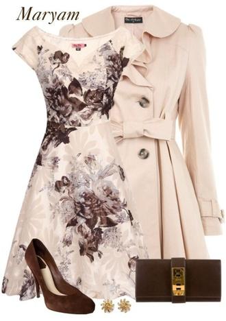 dress ivory brown floral