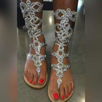 shoes rhinestones studded gladiators sandals silver flat sandals silver glitter embellished diamonds silver shoes