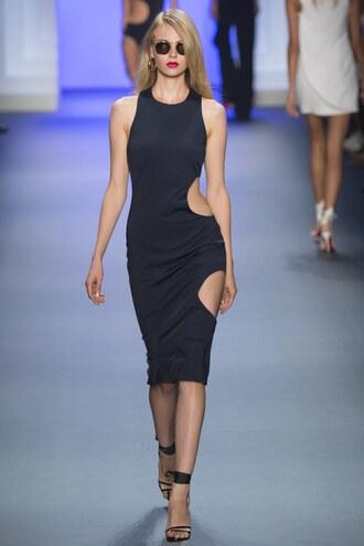 dress cut-out dress midi skirt cushnie et ochs ny fashion week 2016 runway sandals black black dress