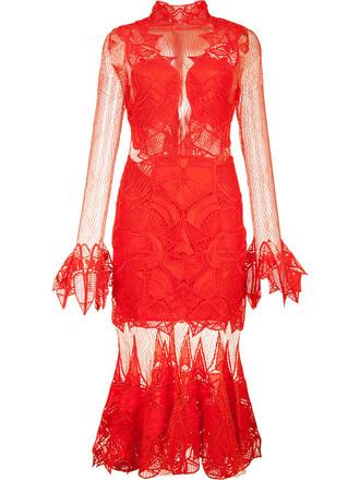dress sheer women spandex silk red