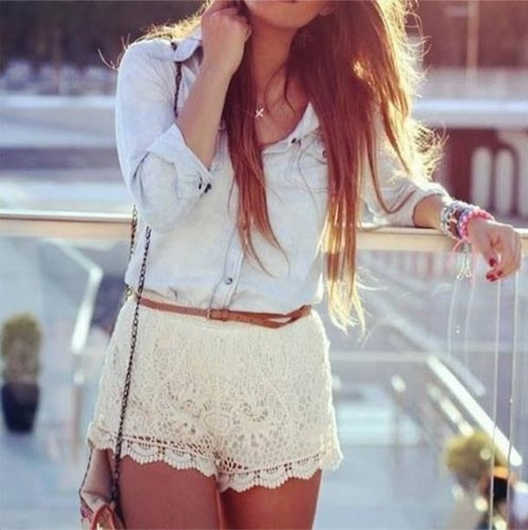 blouse shorts light blue button up blouse lace lacy shorts belt