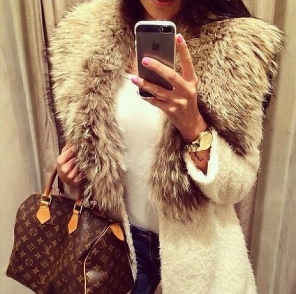 fourrure fashion jacket blanc
