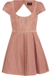 dress,embellished metallic jacquard mini dress,notte by marchesa