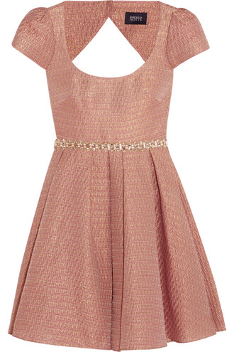 dress embellished metallic jacquard mini dress notte by marchesa