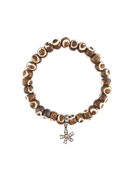 Loree Rodkin wood women charm bracelet brown grey jewels