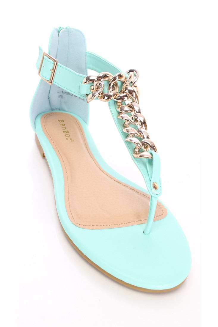 Mint Chain T Strap Sandals Faux Leather