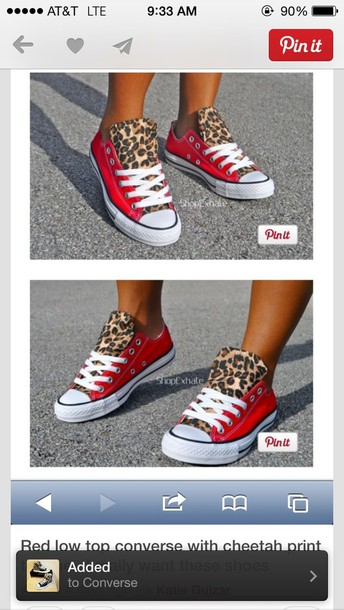 shoes converse red leopard print low top sneakers