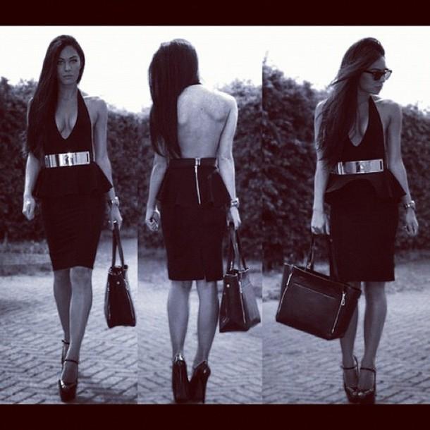 dress peplum dress peplum backless deep v neck dress high waisted black pencil skirt designer