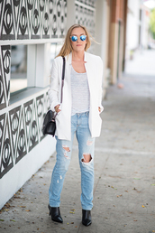 eat sleep wear,sunglasses,tank top,jacket,jeans,shoes,bag,jewels,coat,silver detailed black bag,blue lens,clubmasters,blue sunglasses,black bag,black purse,white coat,white blazer,white jacket