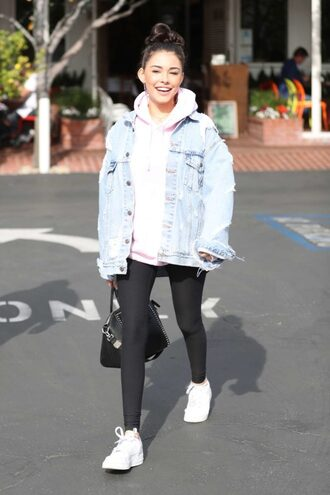 shoes leggings jacket denim jacket fall outfits hoodie madison beer streetstyle