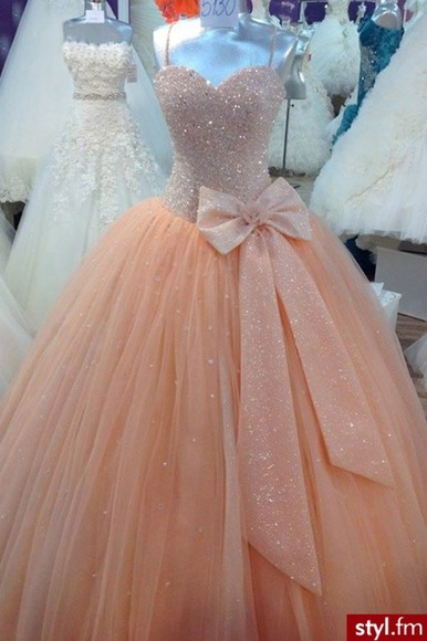 dress prom dress ball gown peach bow glitter