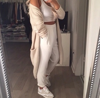 cardigan crop tops light top jeans pants outfit love style shoes