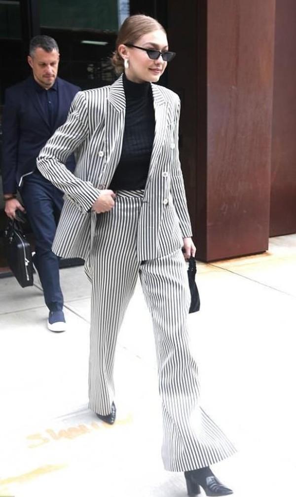 jacket blazer pants top stripes gigi hadid model off-duty turtleneck wide-leg pants